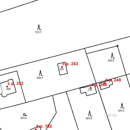 Katastrální mapa Stavební objekt Chrást 243, Tišice