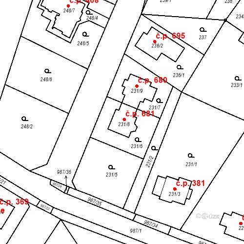 Katastrální mapa Stavební objekt Satalice 681, Praha