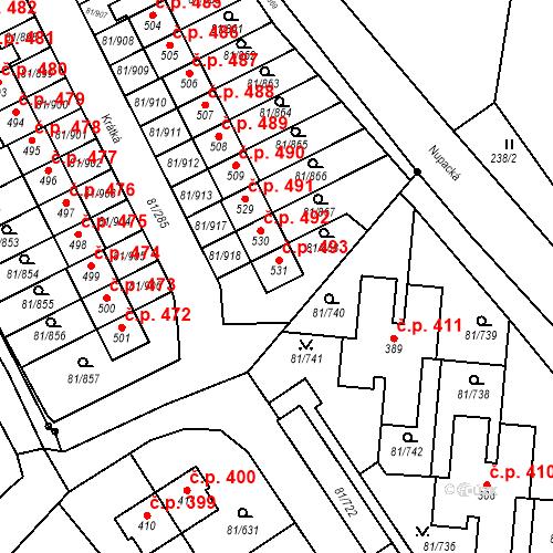 Katastrální mapa Stavební objekt Nupaky 493, Nupaky