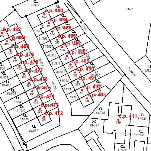 Katastrální mapa Stavební objekt Nupaky 490, Nupaky