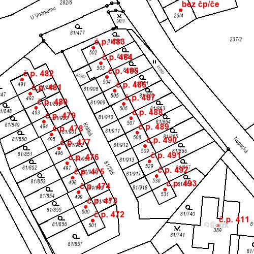 Katastrální mapa Stavební objekt Nupaky 488, Nupaky