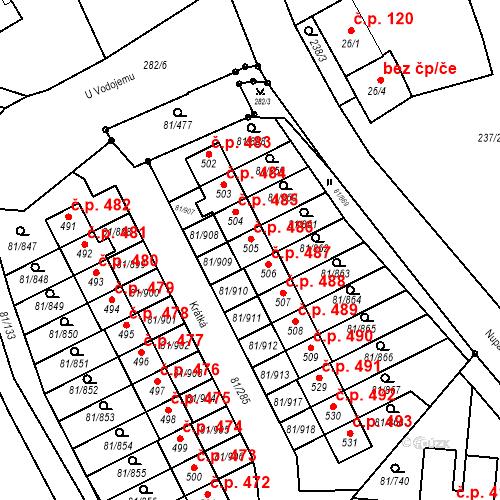 Katastrální mapa Stavební objekt Nupaky 486, Nupaky