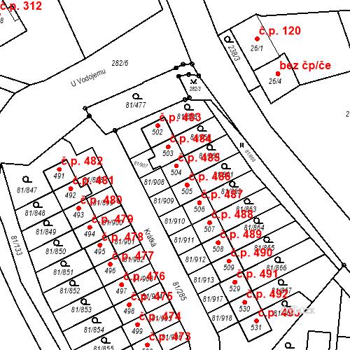 Katastrální mapa Stavební objekt Nupaky 485, Nupaky