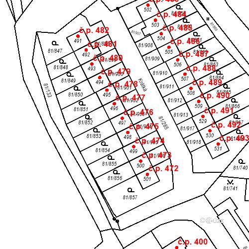 Katastrální mapa Stavební objekt Nupaky 476, Nupaky
