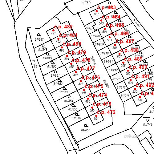Katastrální mapa Stavební objekt Nupaky 477, Nupaky