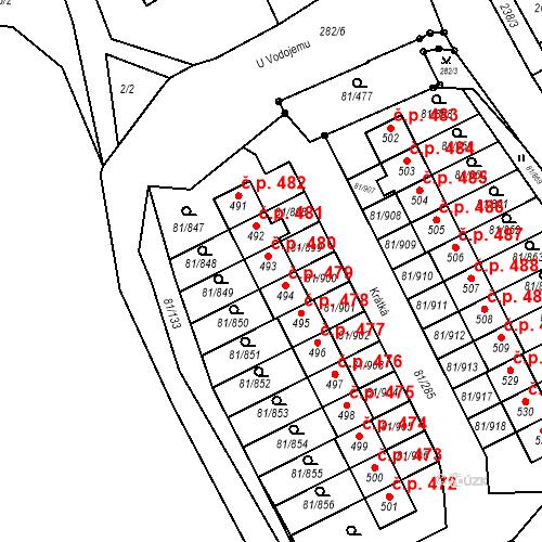 Katastrální mapa Stavební objekt Nupaky 480, Nupaky