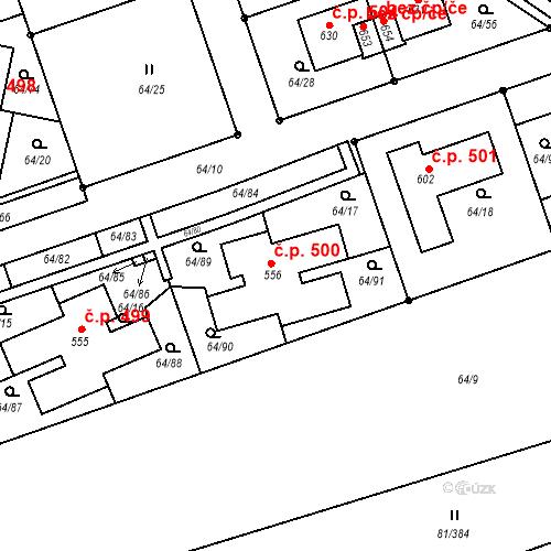 Katastrální mapa Stavební objekt Nupaky 500, Nupaky