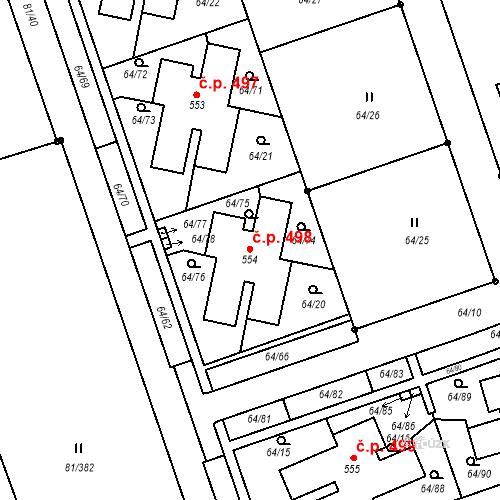 Katastrální mapa Stavební objekt Nupaky 498, Nupaky