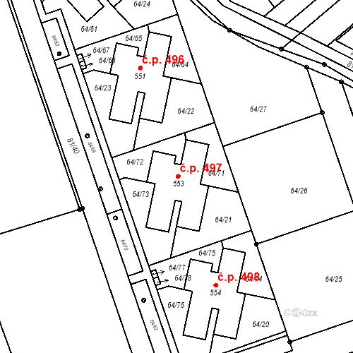 Katastrální mapa Stavební objekt Nupaky 497, Nupaky