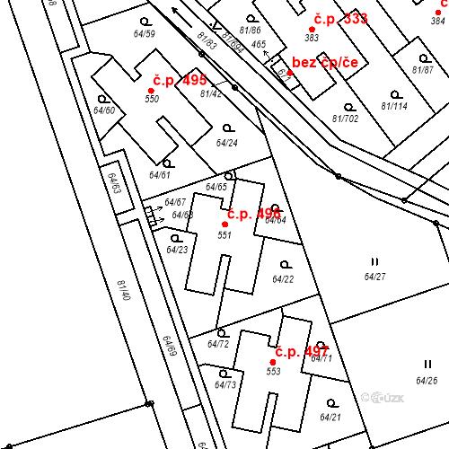 Katastrální mapa Stavební objekt Nupaky 496, Nupaky