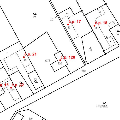 Katastrální mapa Stavební objekt Malý Újezd 128, Malý Újezd