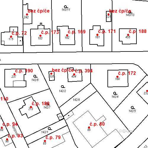 Katastrální mapa Stavební objekt Mratín 394, Mratín