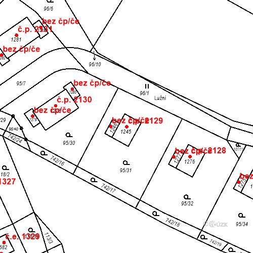 Katastrální mapa Stavební objekt Ládví 2129, Kamenice
