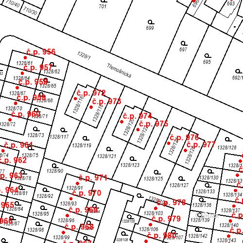 Katastrální mapa Stavební objekt Dolní Počernice 974, Praha