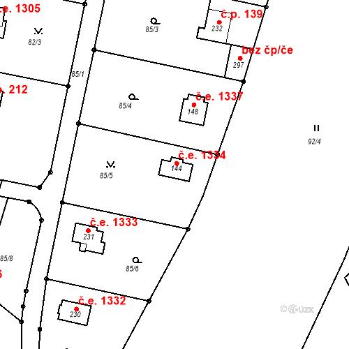 Katastrální mapa Stavební objekt Ládví 1334, Kamenice