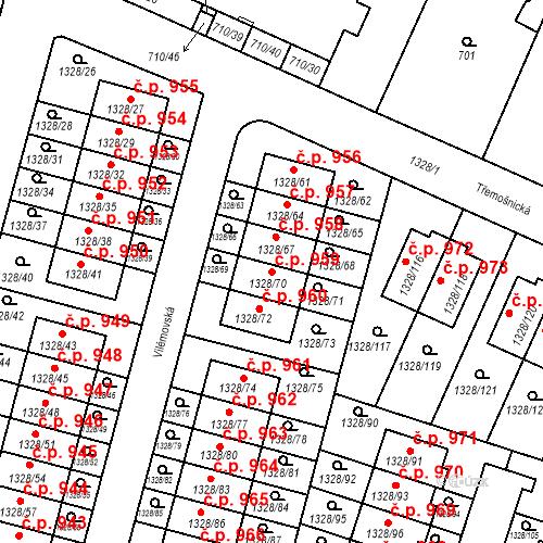 Katastrální mapa Stavební objekt Dolní Počernice 959, Praha