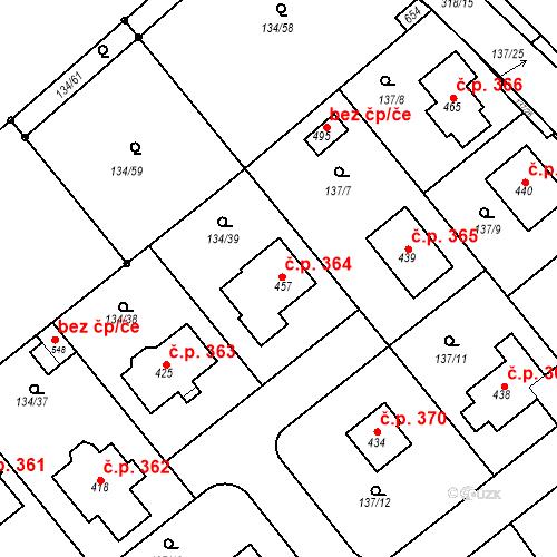 Katastrální mapa Stavební objekt Mratín 364, Mratín