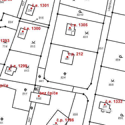 Katastrální mapa Stavební objekt Ládví 212, Kamenice