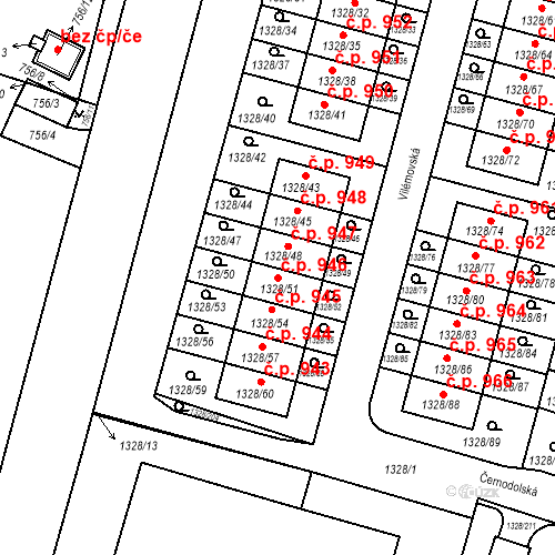 Katastrální mapa Stavební objekt Dolní Počernice 946, Praha