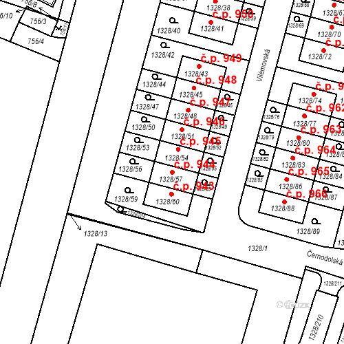 Katastrální mapa Stavební objekt Dolní Počernice 944, Praha