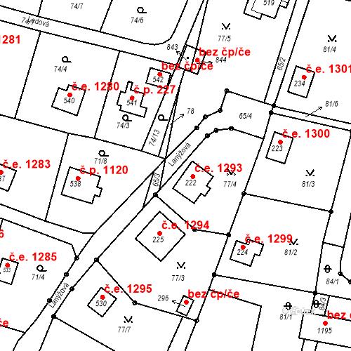 Katastrální mapa Stavební objekt Ládví 1293, Kamenice