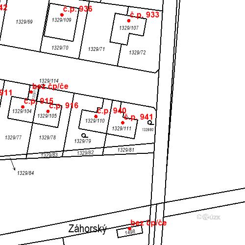 Katastrální mapa Stavební objekt Dolní Počernice 941, Praha