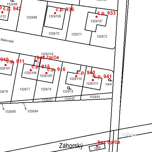 Katastrální mapa Stavební objekt Dolní Počernice 940, Praha
