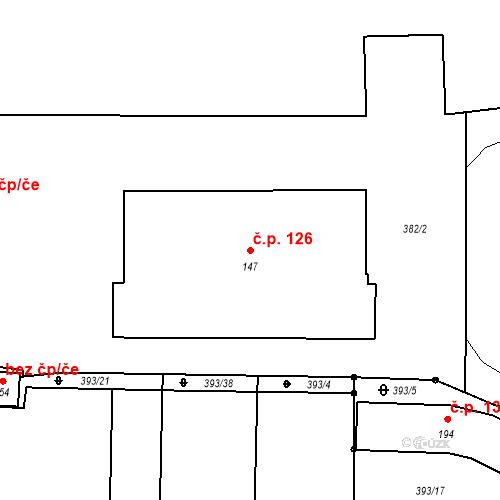 Katastrální mapa Stavební objekt Nesvačily 126, Bystřice