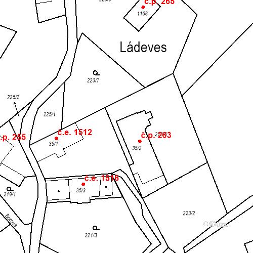 Katastrální mapa Stavební objekt Ládeves 263, Kamenice