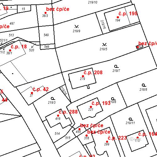 Katastrální mapa Stavební objekt Čestlice 208, Čestlice
