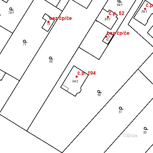 Katastrální mapa Stavební objekt Pitkovice 194, Praha