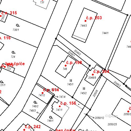 Katastrální mapa Stavební objekt Strkov 198, Planá nad Lužnicí