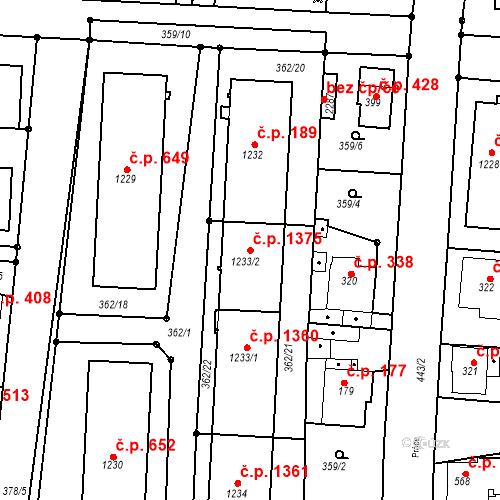 Katastrální mapa Stavební objekt Neratovice 1375, Neratovice