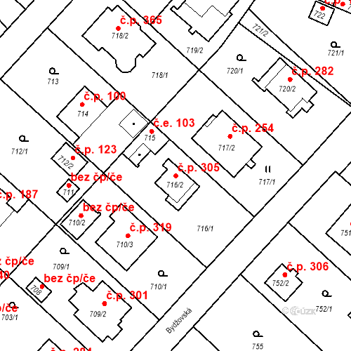 Katastrální mapa Stavební objekt Strkov 305, Planá nad Lužnicí