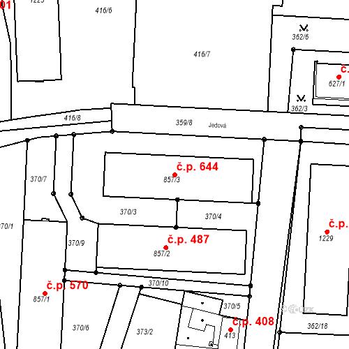 Katastrální mapa Stavební objekt Neratovice 644, Neratovice