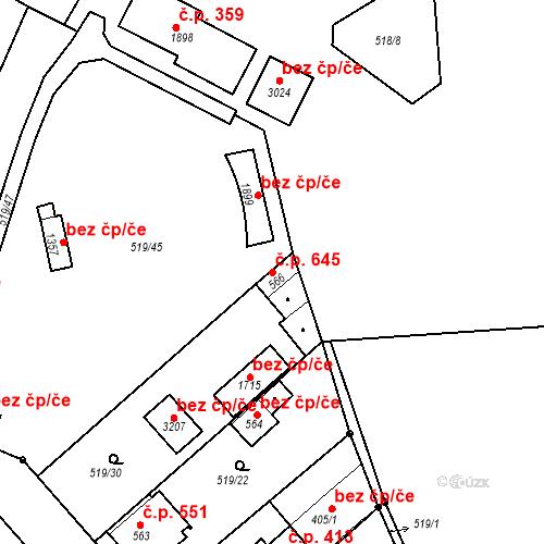 Katastrální mapa Stavební objekt Neratovice 645, Neratovice