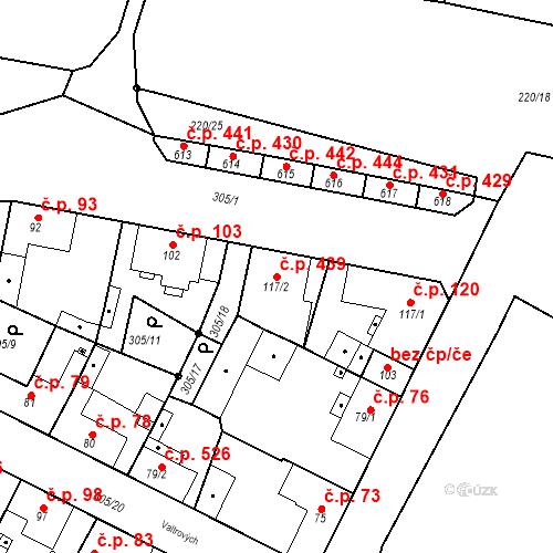 Katastrální mapa Stavební objekt Neratovice 439, Neratovice