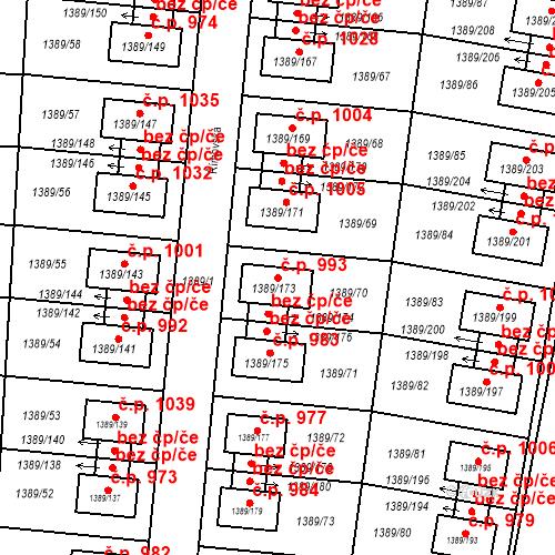 Katastrální mapa Stavební objekt Hloubětín 993, Praha