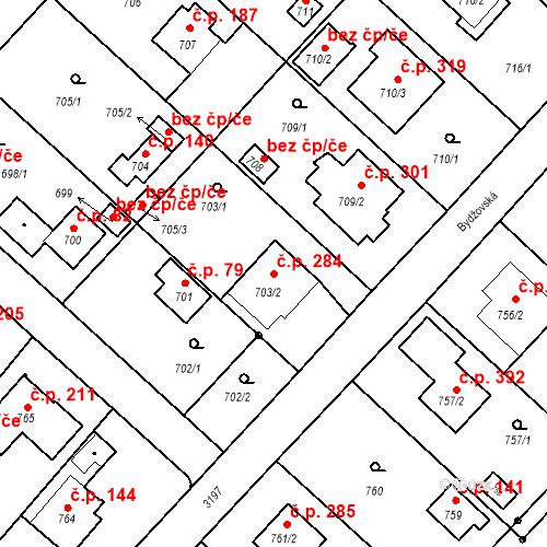 Katastrální mapa Stavební objekt Strkov 284, Planá nad Lužnicí
