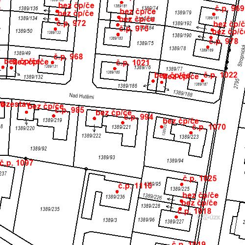 Katastrální mapa Stavební objekt Hloubětín 994, Praha