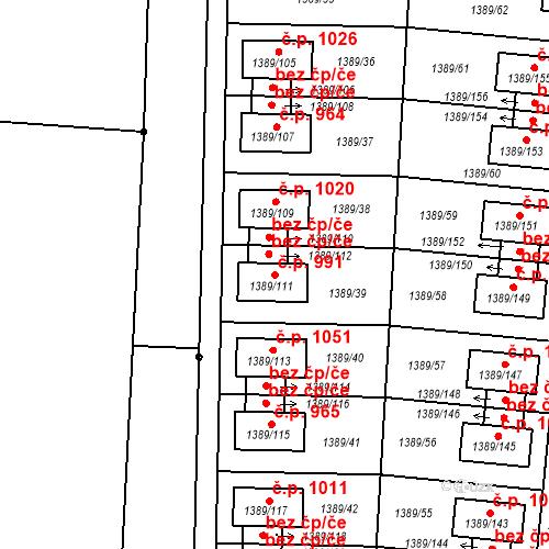 Katastrální mapa Stavební objekt Hloubětín 991, Praha