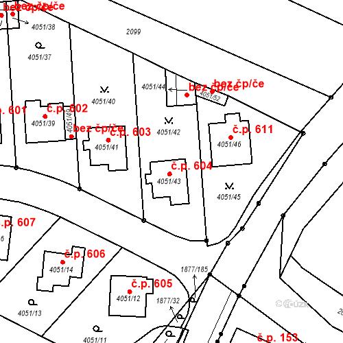 Katastrální mapa Stavební objekt Soběslav III 604, Soběslav