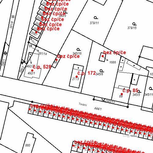 Katastrální mapa Stavební objekt Neratovice 172, Neratovice