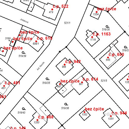 Katastrální mapa Stavební objekt Neratovice 942, Neratovice