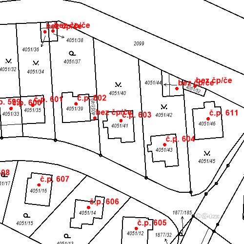 Katastrální mapa Stavební objekt Soběslav III 603, Soběslav