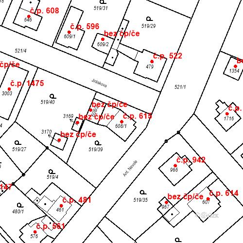 Katastrální mapa Stavební objekt Neratovice 615, Neratovice
