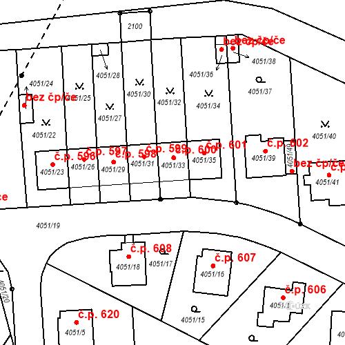 Katastrální mapa Stavební objekt Soběslav III 600, Soběslav