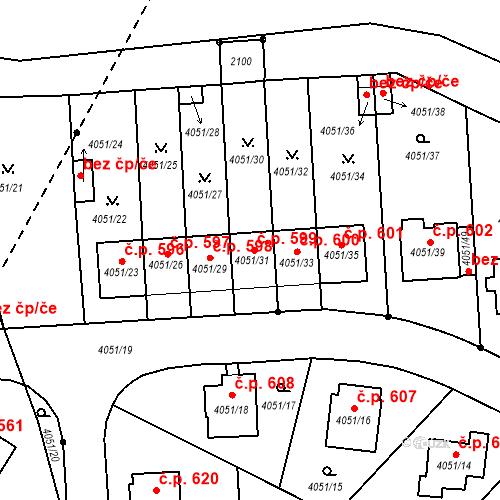 Katastrální mapa Stavební objekt Soběslav III 599, Soběslav