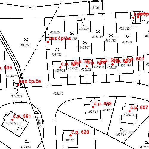 Katastrální mapa Stavební objekt Soběslav III 597, Soběslav