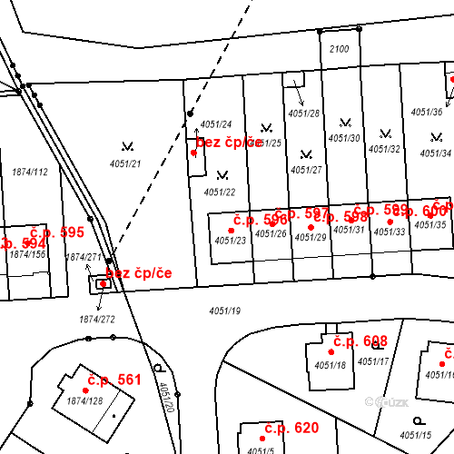 Katastrální mapa Stavební objekt Soběslav III 596, Soběslav